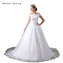 Luxury Ivory Ball Gown Beaded Off Shoulder Wedding Dresses 2017 White Women Formal Long Puffy Bridal Gowns vestido de noiva A033