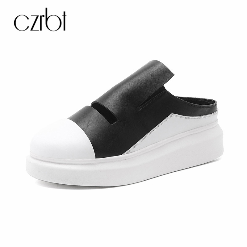 CZRBT Genuine Leather Ladies Flat Shoes Platform Shoes Women Slip On Loafers Thick Bottom Casual Women Shoes Height Increasing цена