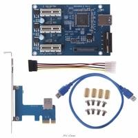 PCI e PCI E Express 1X to 3 Port 1X Switch Multiplier HUB Riser Card +USB Cable High Quality