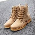 Nueva primavera 2017 solid zapatos unisex de calidad superior de la vendimia 3 colores botines con cordones amantes del estilo de Roma punta redonda zapatos de los hombres botas