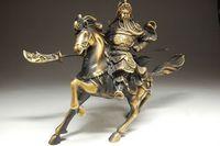 Rare Fine Chinese Bronze Statue Guan Gong & Horse NR