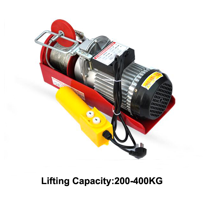 980W Mini Electric Hoist Crane Portable 200-400kg 12 Meters Small Home Crane Renovation Crane 220V 12m/min Hot Sale