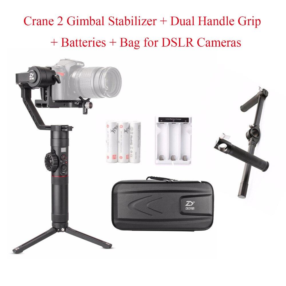 Zhiyun Crane 2 Crane2 stabilisateur de cardan à main 3 axes + Zhiyun support de poignée double pour caméras DSLR charge jusqu'à 3.2 KG