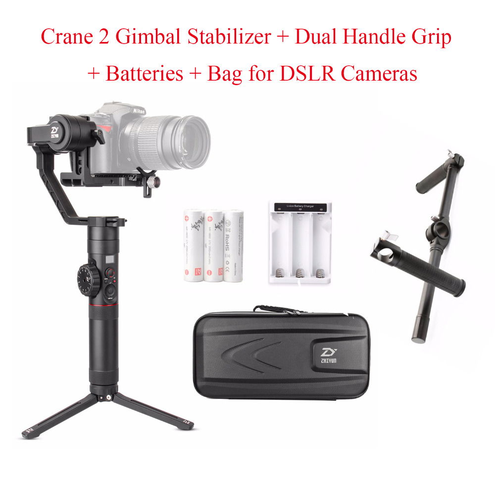 Zhiyun Crane 2 Crane2 3 Axis Handheld Gimbal Stabilizer + Zhiyun Dual Handle Grip Bracket for DSLR Cameras Load up to 3.2KG latest 2017 version zhiyun crane 3 axis handheld stabilizer gimbal for dslr canon sony a7 cameras load 1800g