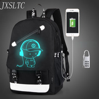 JXSLTC Boys School Backpack Student Bright Animation USB Charging Transition Joint Computer Bag School Backpacks For Teen