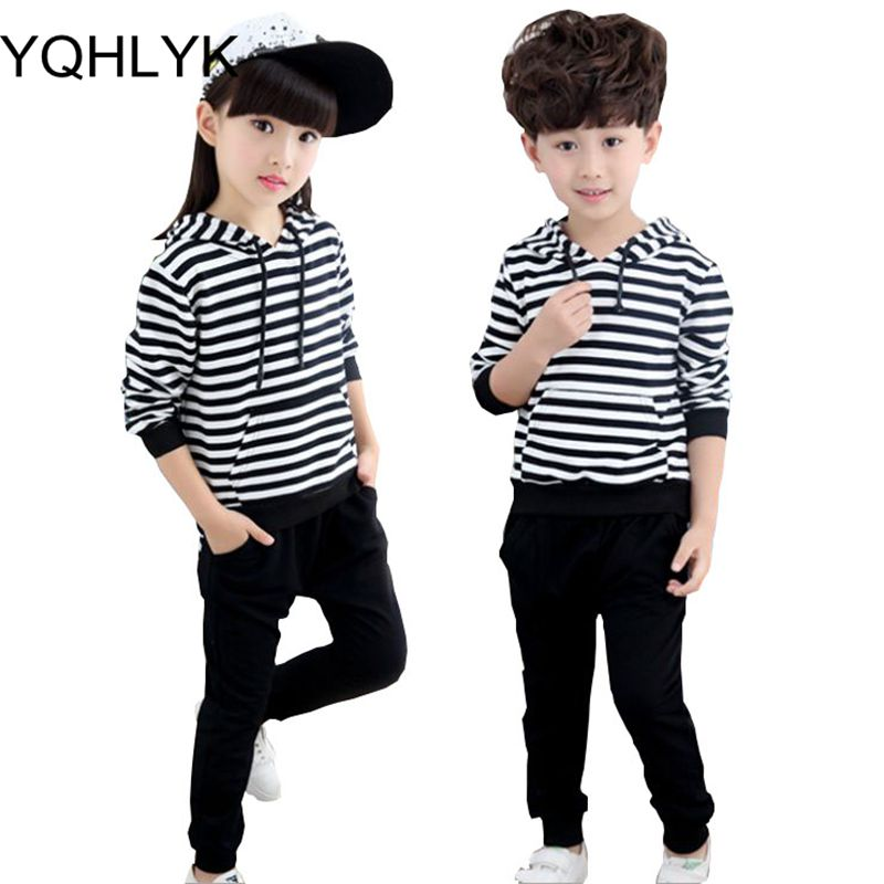 2018 New Fashion Spring Autumn Girl Suit Stripe Tops + Pants 2pcs Set Boy Suit Children Clothes Hooded Active Kids Clothing W88 2017 new fashion kids clothes off shoulder camo crop tops hole jean denim pant 2pcs outfit summer suit children clothing set