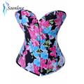Drop Shipping Newest Fashion Sexy Floral Printed Corset with Thong