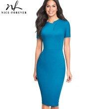 Güzel sonsuza kadar Vintage Zarif Saf Renk Düzensiz yaka Çalışma vestidos Iş Bodycon Ofis Parti Kadın Kılıf Elbise B496