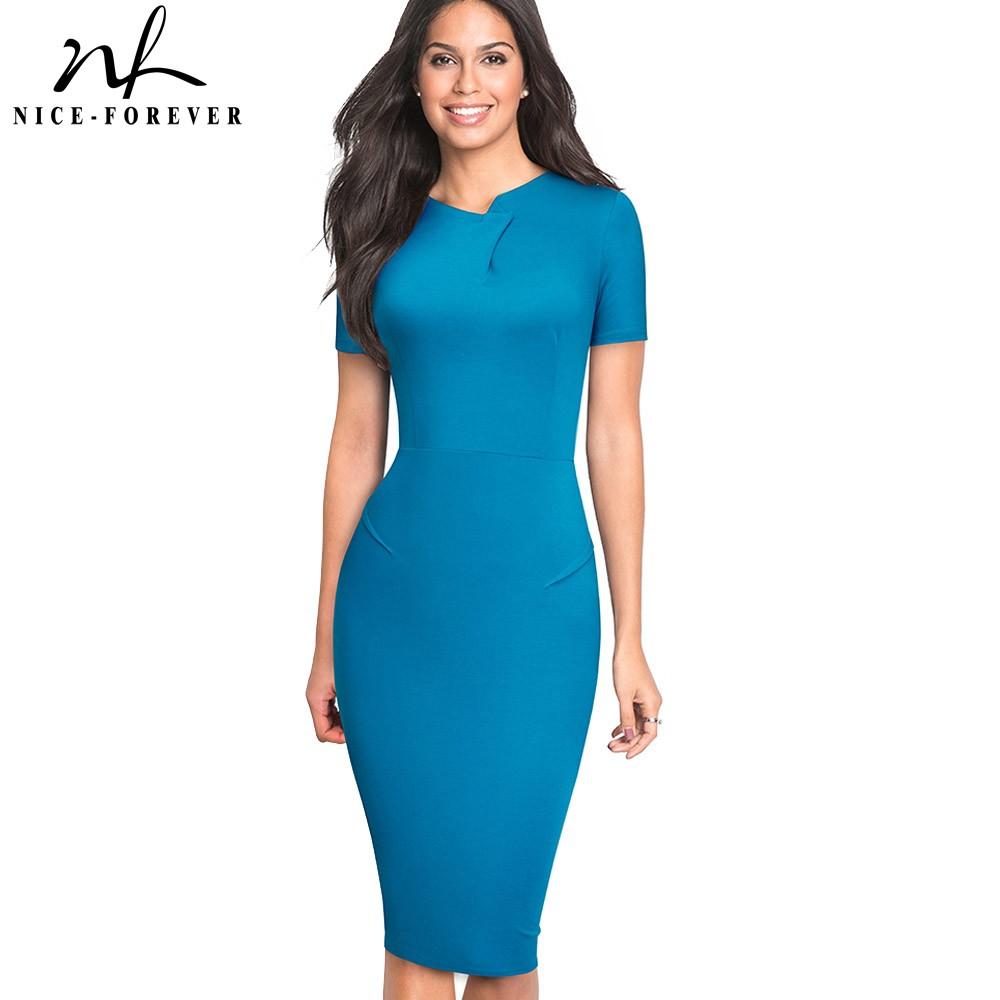 Nice-forever Vintage Elegant Pure Color Irregular Neckline Work Vestidos Business Bodycon Office Party Women Sheath Dress B496