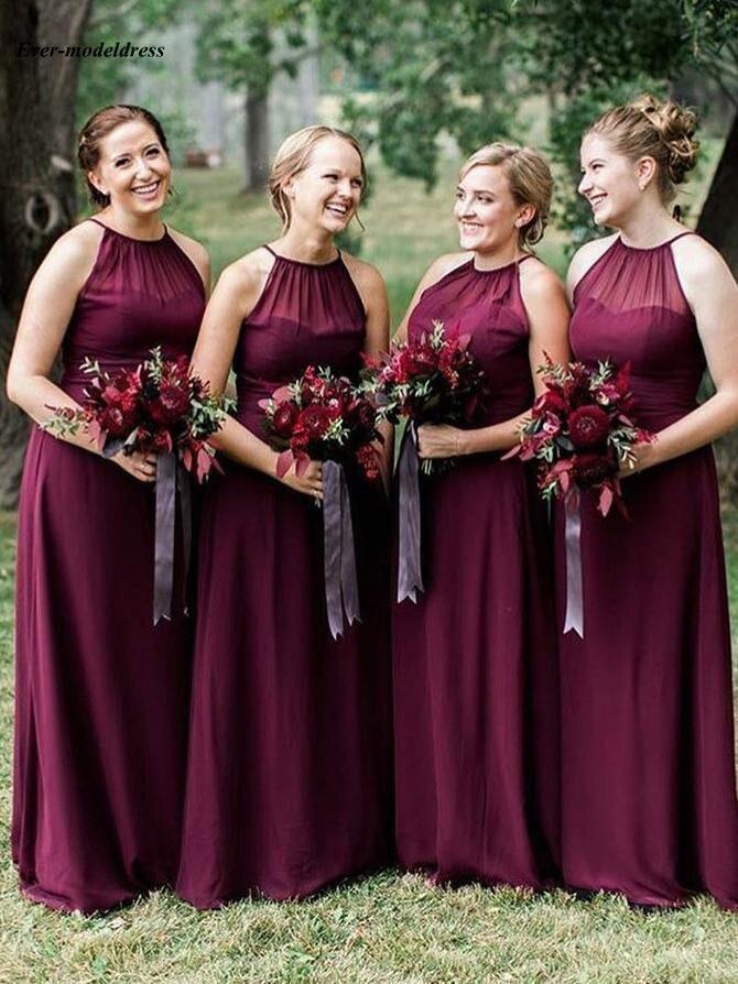 Country Burgundy   Bridesmaid     Dresses   2019 Halter Backless A-Line Floor Length Chiffon Wedding Guest Party Gowns vestido de festa