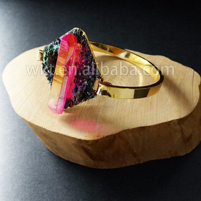 WT B237 Groothandel charm handmark bangles natuurlijke crystal quartz pyriet hand maken unieke 24 k gold trim opening sluiting bangles-in Armring van Sieraden & accessoires op  Groep 2