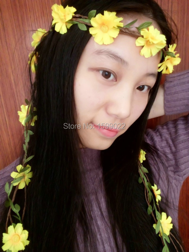 Wedding hair garland yellow flower green leaf rattan decorative dfc262 dfc262 2 mightylinksfo
