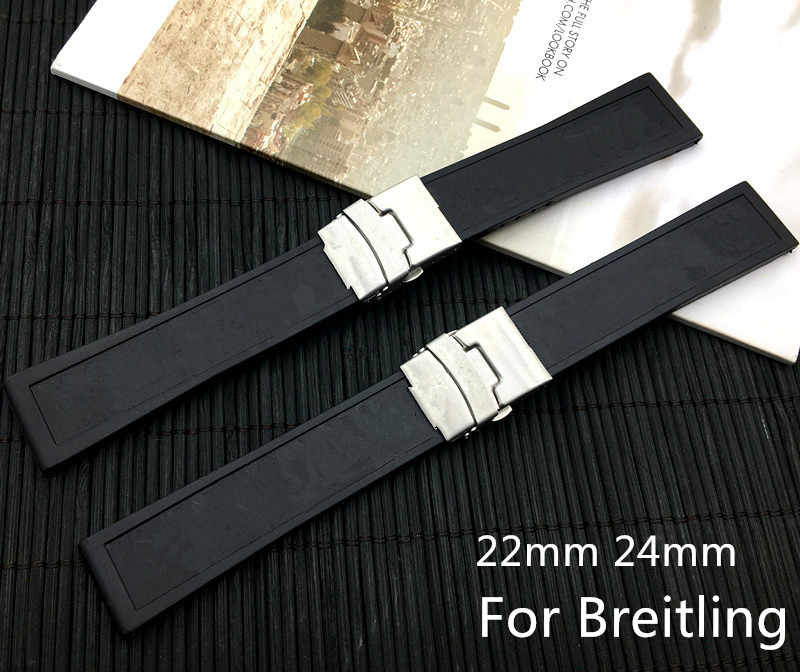 Reloj de pulsera de goma de silicona negra de calidad superior de la marca 22mm24mm para navitimer/avenger/Breitling strap con Logo