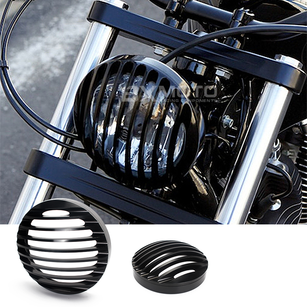 For Harley Sportster XL883/1200 04'-UP Black 5 3/4 CNC Aluminum Motorcycle Headlight Grill Cover protector Motorbike Head super quality 5 3 4 aluminum cnc light cover headlight grill cover for harley sportster xl883 1200 04 up softail
