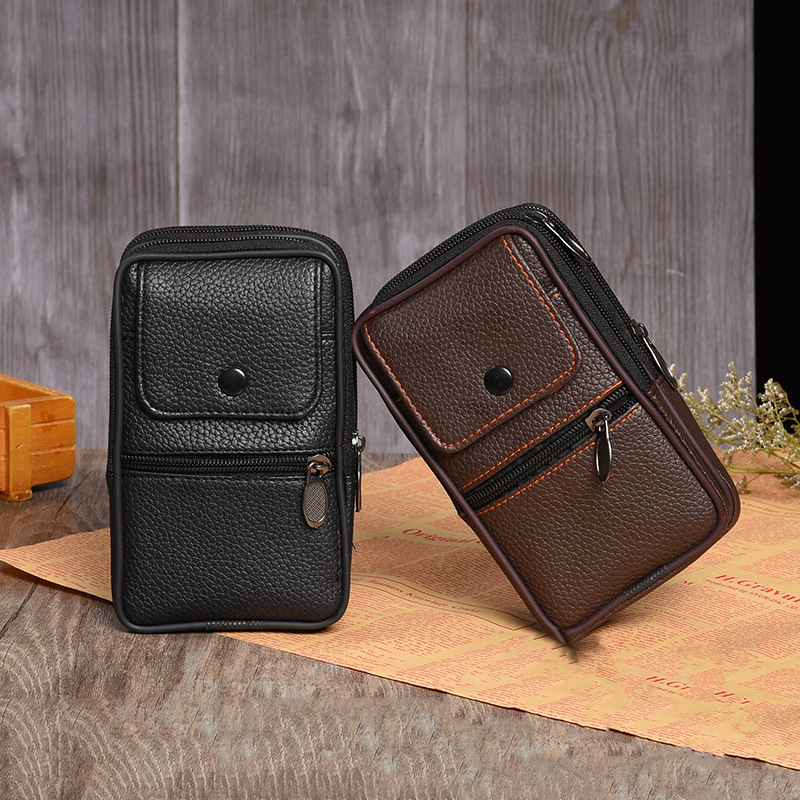 Fashion Men waist pack Casual Functional Fanny Bag Money Phone Belt Bag Pouch brown Black Bum Hip Bag leather waist bag