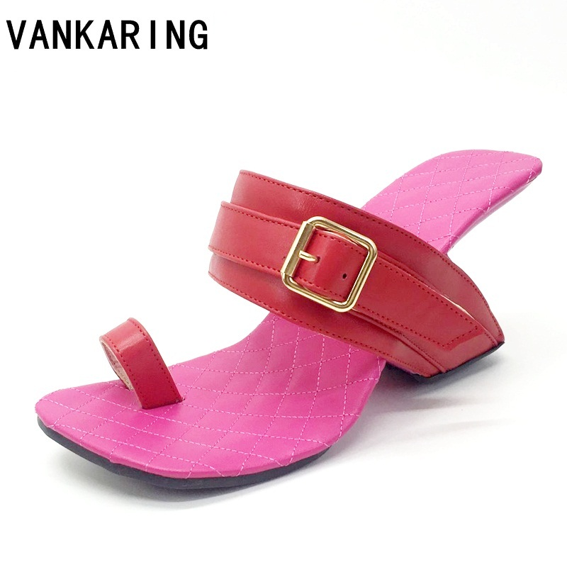 VANKARING brand summer sandals women fashion cut-outs flip-flops suede leather slippers platform sandals high heels casual shoes 2018 summer new genuine leather women slippers sexy cut outs high heels shoes fashion slides natural leather sandals for women