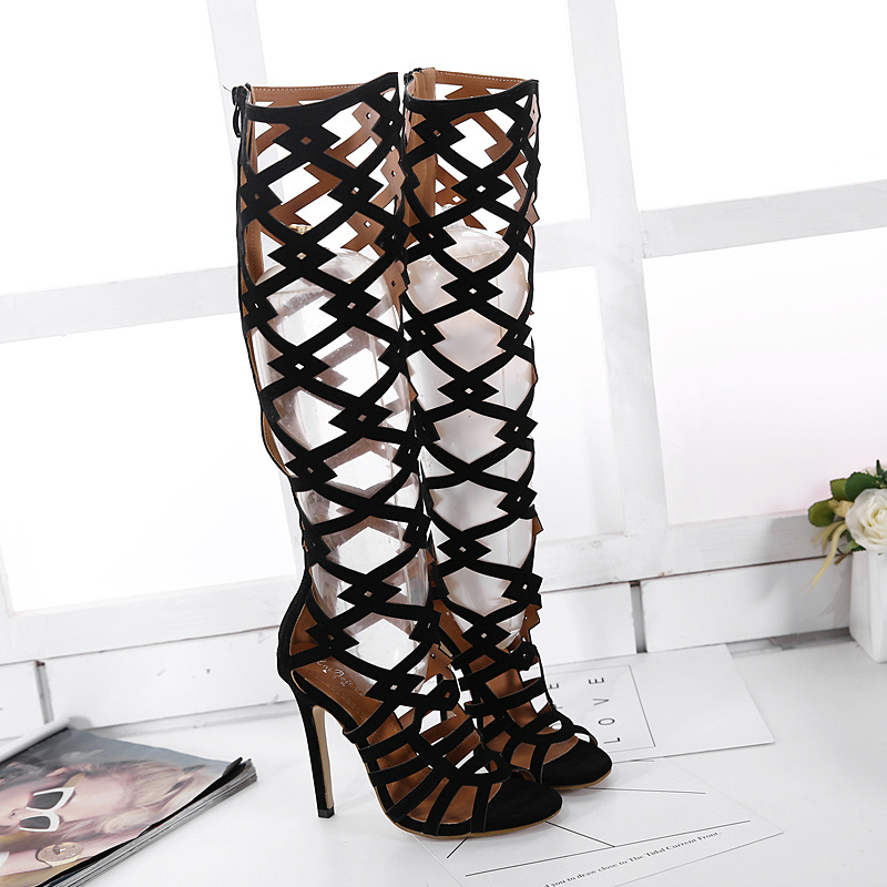 ФОТО Free shipping summer women's ultra high heels sexy black velvet breathable high-heeled boots