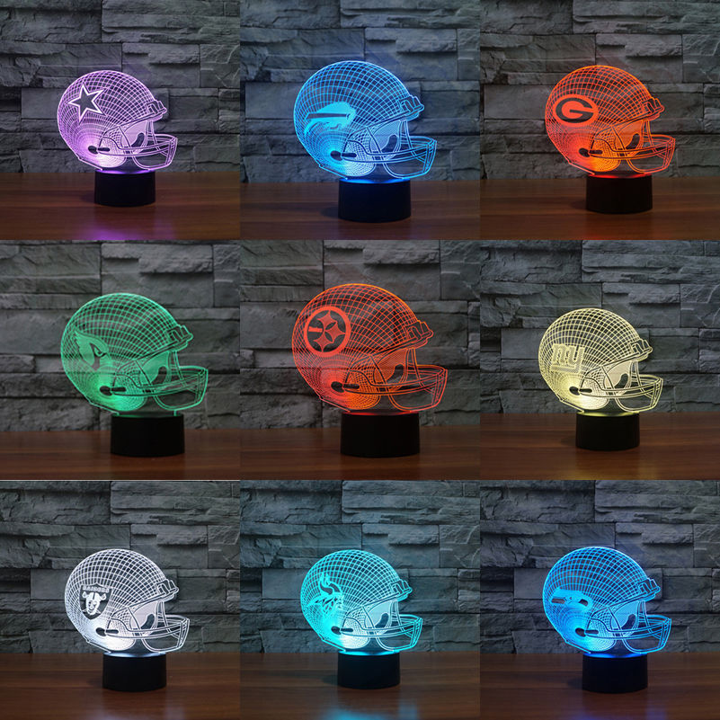 3D Night Nightlight Nfl Football Helmet 3D Illusion Led Night Light 7 Colors Change Desk Lamp Gift