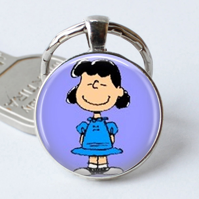 Lucy Key Ring The Peanuts Jewelry Charlie Brown Character Keychain Glass  Cabochon Christmas Gift for Women f54113301