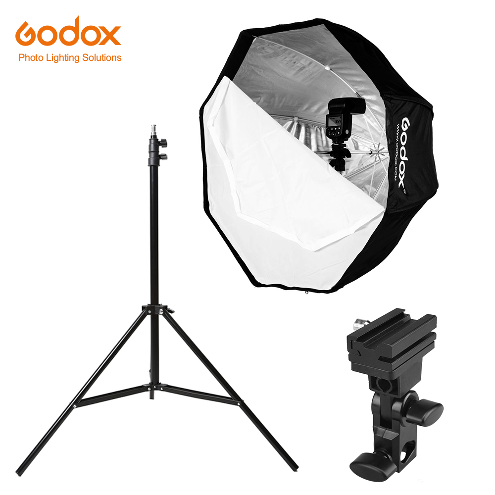Godox 31.5in 80cm Octagon Umbrella Softbox 200cm Light Stand Umbrella Hot Shoe Bracket Kit For Speedlite Flash