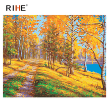 RIHE Tree Forest Diy Painting By Numbers Abstract Quiet Path Oil Painting On Canvas Cuadros Decoracion Acrylic Wall Art Picture rihe amused expression diy painting by numbers abstract cute cat oil painting on canvas cuadros decoracion acrylic wall art