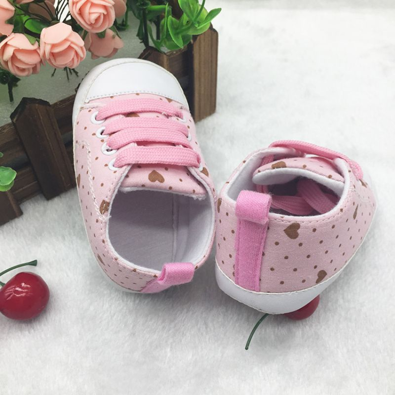 Casual Anti-slip Toddler Shoes Baby Cotton Dot Print Lace-up Girls First Walkers Soft Sole Kid Prewalkers