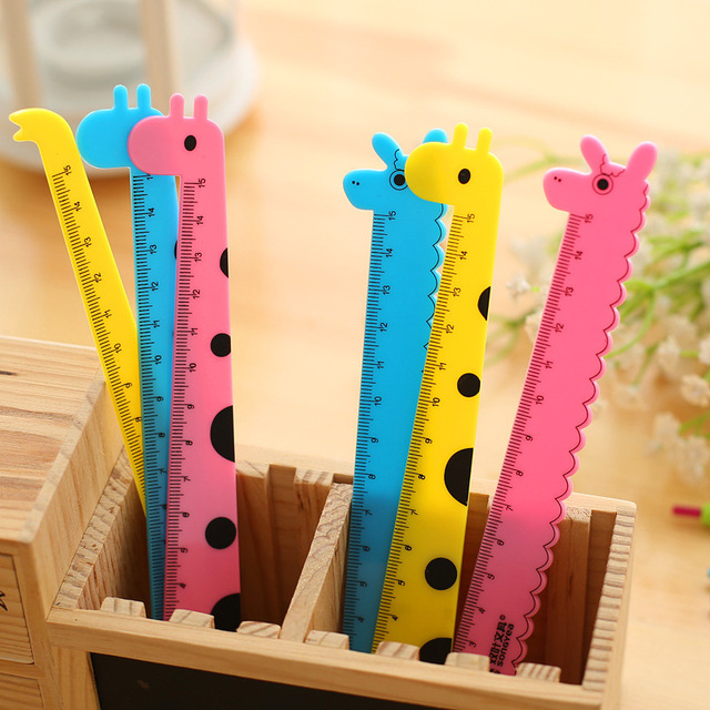 Meikeng 15cm Candy Color Animal Rulers Student Learning Drawing Tool Korea Stationery Office Supplies 12pcs