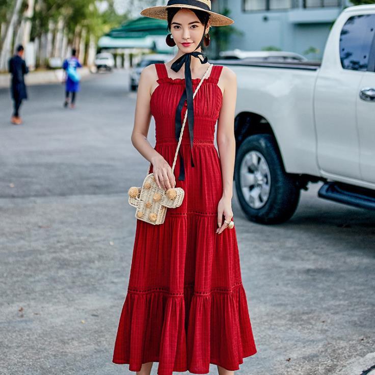 Robe longue rouge Sexy à bretelles Spaghetti élégante robe longue mince d'été femmes balançoire robes de soleil