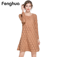 Fenghua Spring Autumn Dress Women 2017 Casual Vintage Elegant Sexy A Line Lace Dress Plus Size