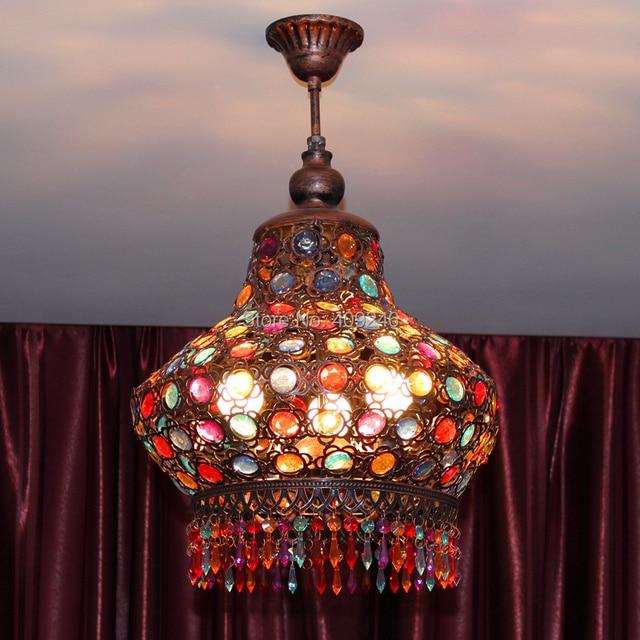 Bohemia Mediterranean Sea Colorful Crystal Ceiling Pendant Lamp
