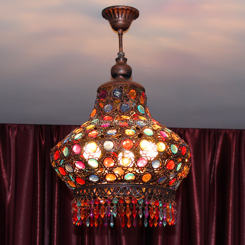 Bohemia Mediterranean Sea Colorful Crystal Ceiling Pendant Lamp Lantern Light Chandelier Bedroom Dining Room Home Decor Hot Sale