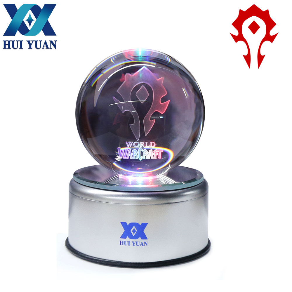 World of Warcraft 8CM Crystal ball 3D New exotic lamp LED Night Light Magic Ball for Children Gifts Decorative table lamp charizard 8cm 3d laser go crystal ball mew led night light magic ball for children christmas gifts by hui yuan