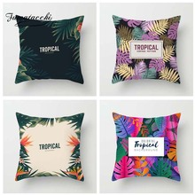 Fuwatacchi Tropical Plant Style Cushion Cover Flamingo Forest Palm Leaves Printed Pillow Decorative Pillows For Sofa Car