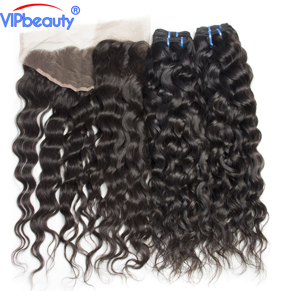 13x4 pre plucked Brazilian water wave 4 bundles with lace frontal closure vip beauty non ...