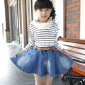 2017 new skirt for girls 4-12 years kids Solid color cotton cowboy clothing baby girl skirt baby girl clothes denim skirt 023c