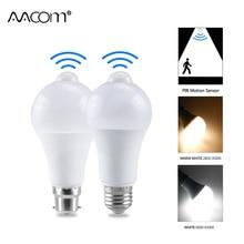 12W 18W PIR żarówka LED z czujnikiem ruchu E27 B22 ampułka inteligentna dioda LED automatyczne wyłączanie/włączanie IP42 lampka nocna wewnętrzne bezpieczeństwo zewnętrzne