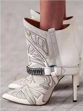 Embroidery Suede Leather Pointed Toe Ankle Boots Stiletto Strappy Lady Short Boots Fashion Lady High Heels Studded Boots Shoes недорого