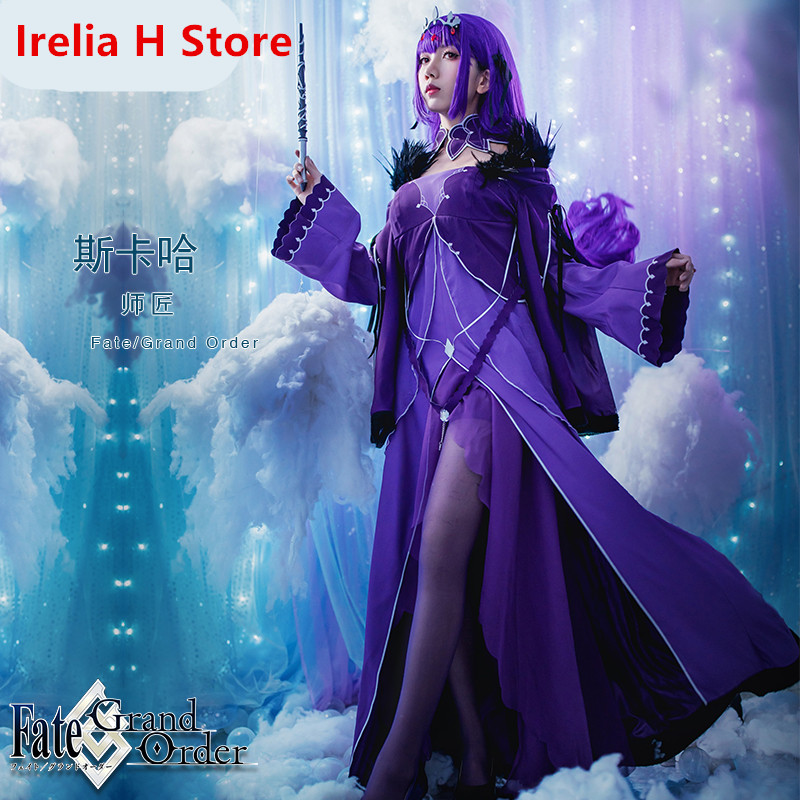 Scathach FGO2 Cosplay Fate/Grand Order Caster Scathach cospaly costume purple dress female halloween costumes for women gift 1