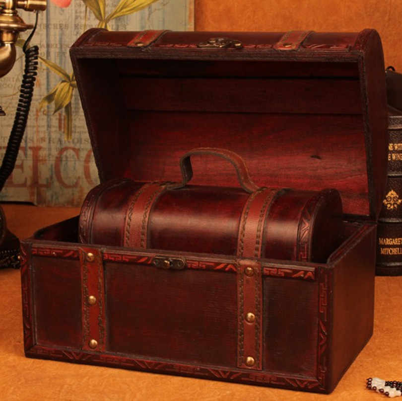 Wooden box European suitcase vintage box Gift wooden jewelry box big zakka Storage Box map brown Leather hander