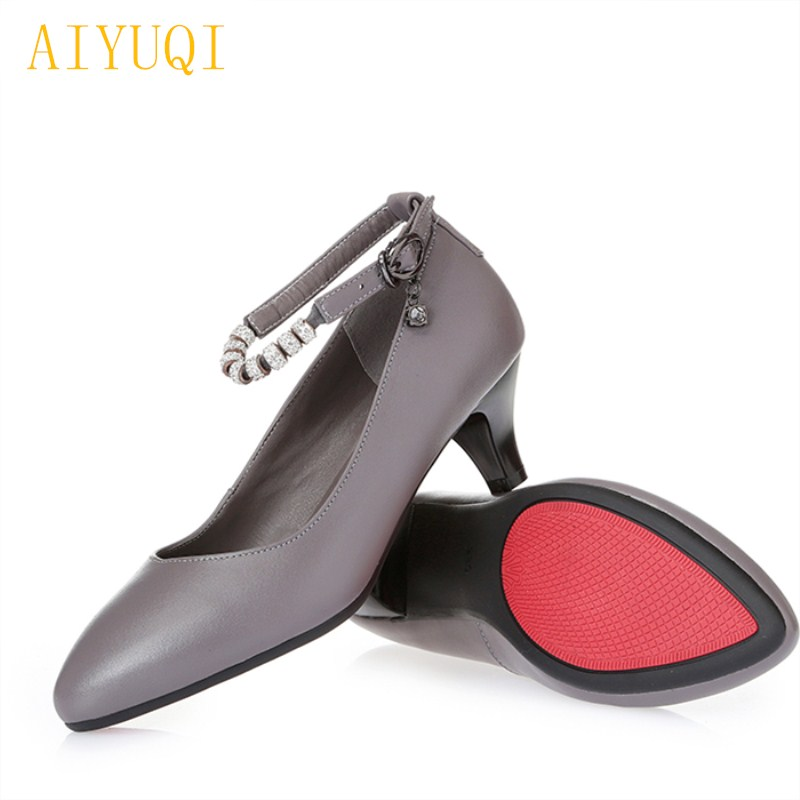 AIYUQI 2018 new spring women's genuine leather shoes OL lady with fashion black women shoes comfortable brands shoes women 34# aiyuqi big size 41 42 43 women s comfortable shoes 2018 new spring leather shoes dress professional work mother shoes women page 2