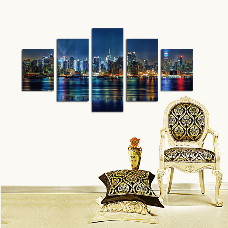 Home Design Ideas Hong Kong: Big Size Living Room 5 Piece Canvas Art Home Decor Night