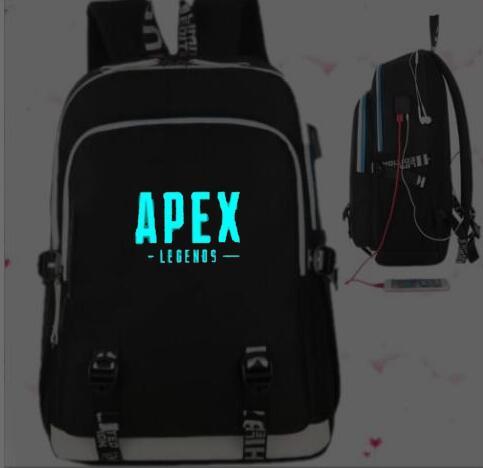 c222b824b8 NEW Apex Legends Zaino Adolescente Ragazze USB Carica Borse da Scuola della  Tela di Canapa Zaino