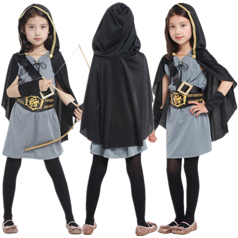 Carnival Halloween Cosplay Clothes Kids Girls Forest Hunter Costume Crusader Children Fantasia Fancy Dress for Masquerade Party