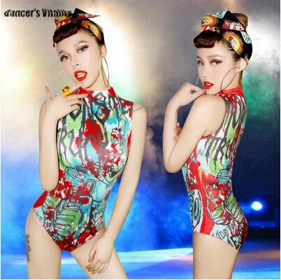 Bodysuit Women Hip Hop Dance Costume Sexy Nightclub Collar Dance Personality Bar Ds Costume Dj Stage costume for singers New