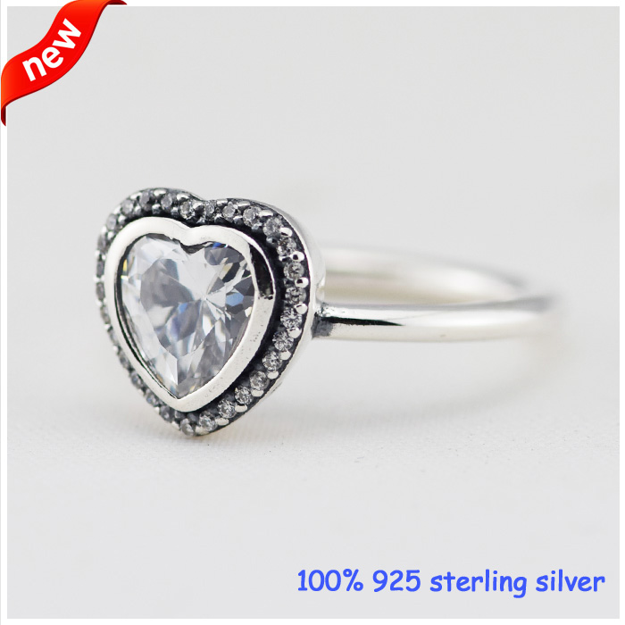 Ring Sparkling Love Silver Rings With Clear CZ For Women Men Female Ring100% 925 Jewelry Sterling Silver Wedding rings