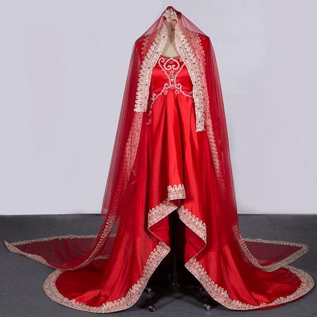buy popular ff2fd 22c17 US $268.5 |Foto reale Musulmano Abito Da Sposa Rosso Stupefacente Senza  Maniche Abiti Da Sposa Scoop Arabo Vestito Lungo vestido de noiva  Spedizione ...