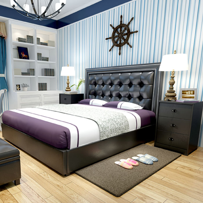 Modern design soft bed bedroom furniture bed bedside for New modern bed design