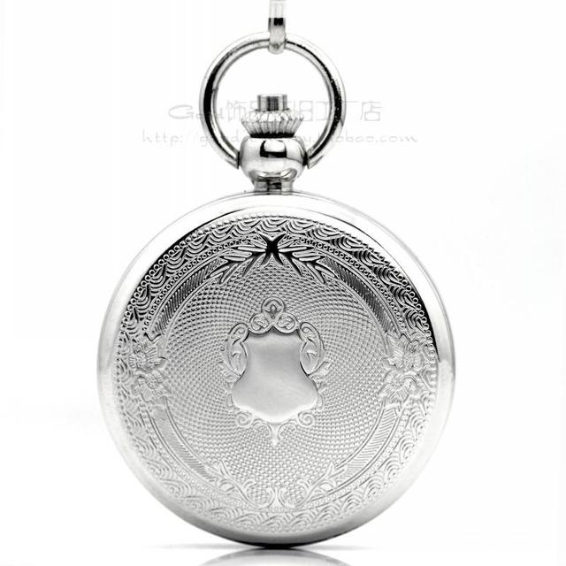 2014 promotion real acrylic stainless steel the continental style white carved retro pocket watch mechanical male antique gift
