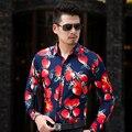 CE07-Осень L-6XL 7XL Сорочки для Мужчин С Длинным Рукавом 2017 Мужская Цветочные Рубашки Гавайские Рубашки Мужчины Рубашки Платья Camisas Пункт Hombre
