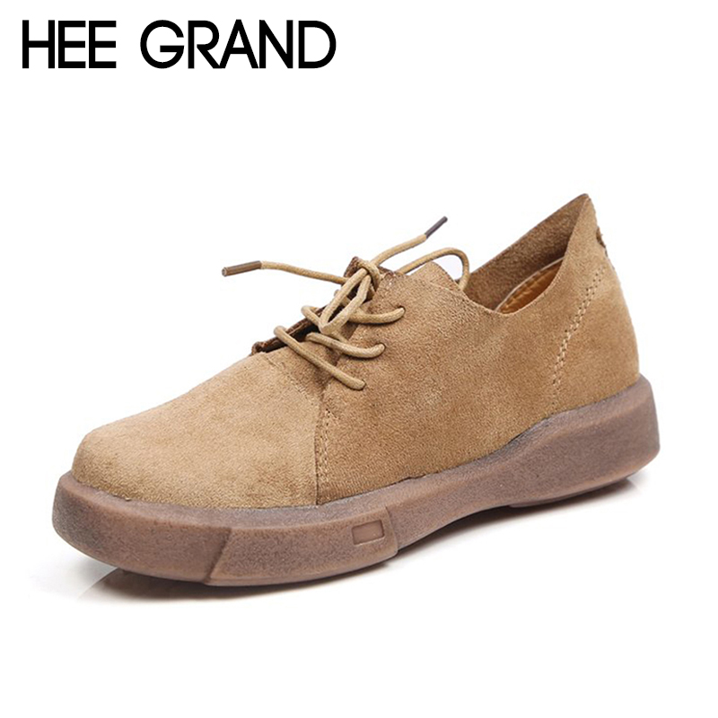 HEE GRAND 2018 New Arrival Women Flats Vintage Style with Lace-up Women Causal Fashion Oxfords Causal Mujer Shoes XWD6750